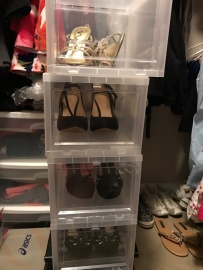 Shoes Stacked in Closet
